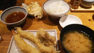 『天ぷらまきの梅田』のまきの定食の一部