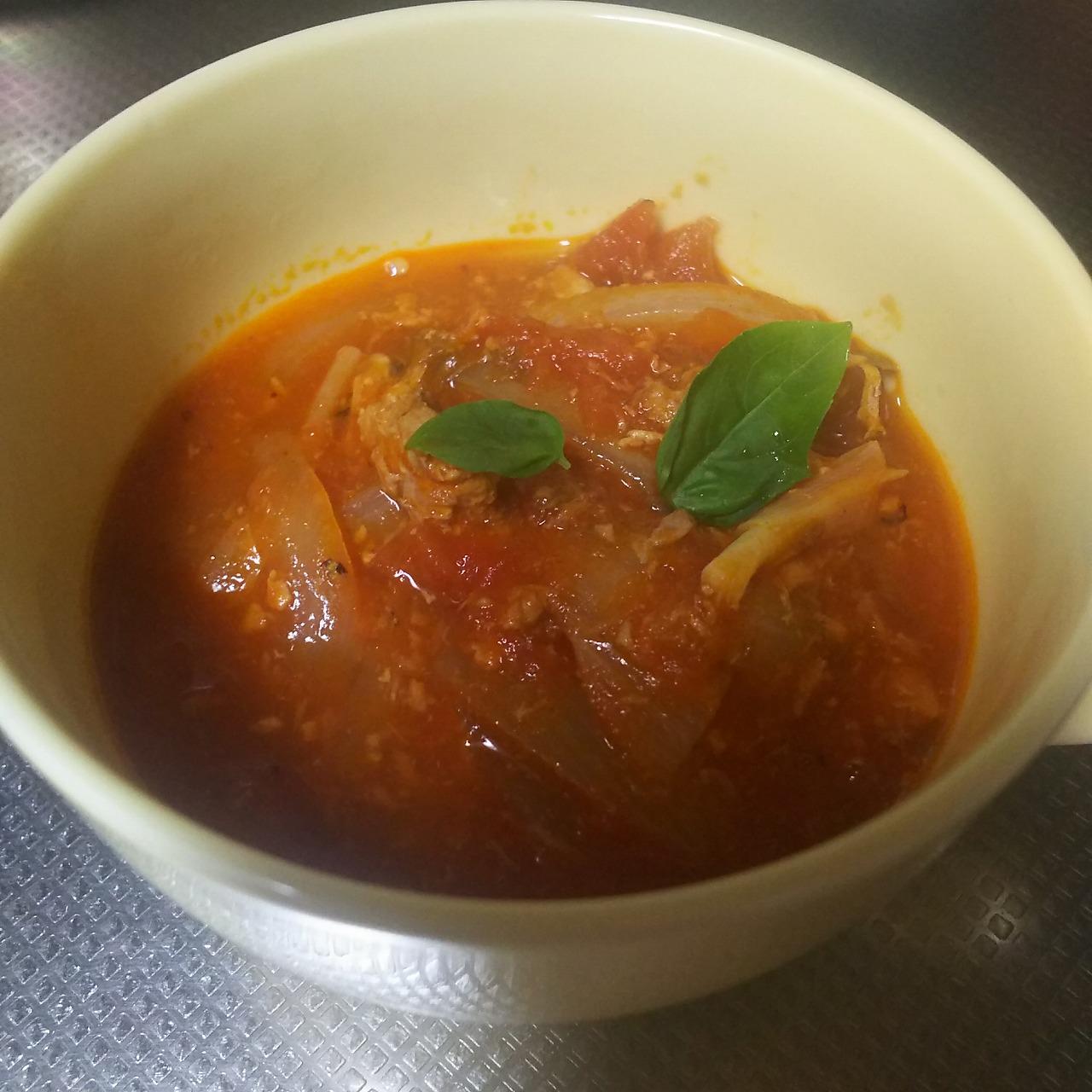 鯖トマトスープ完成(バジルのせ)