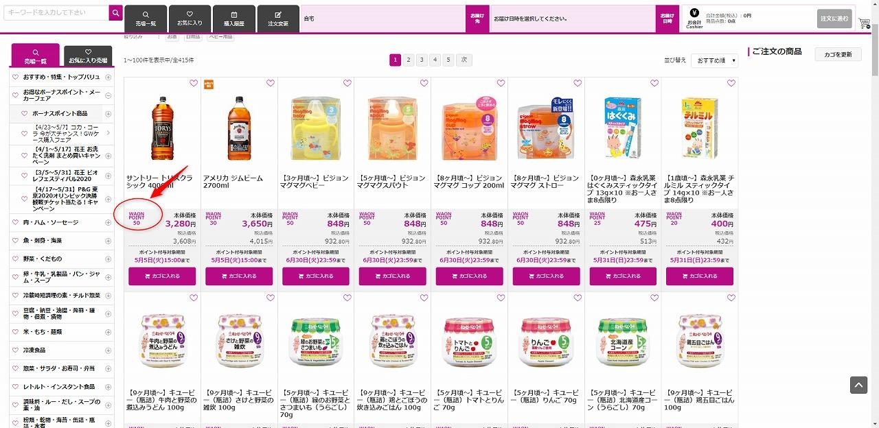 ポイントアップ商品の画面