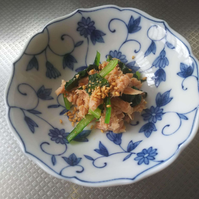 出来上がった小松菜とツナのマスタード和え