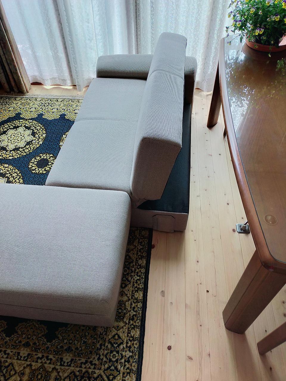 ニトリのソファベッドを実際に置いた様子